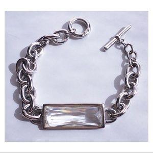 """Swarovski Bracelet Crystal Bar Faceted Silver 8"""""""